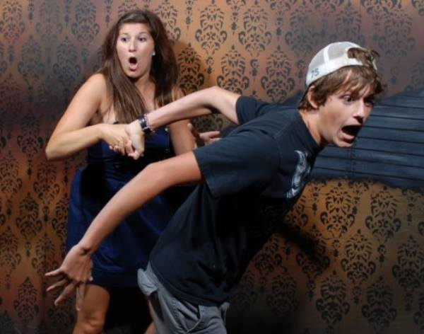 Terrified Haunted House Reactions Running