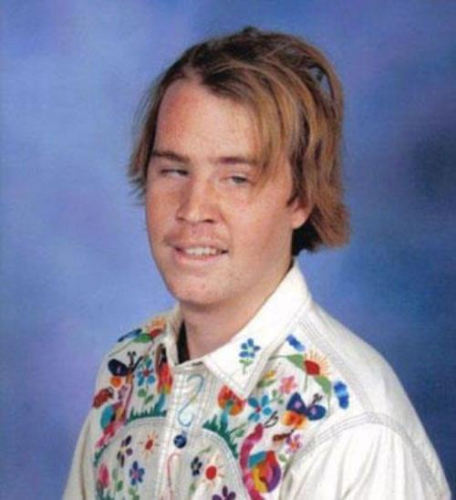 Hilariously Awkward Yearbook Photos - Rainbow Shirt