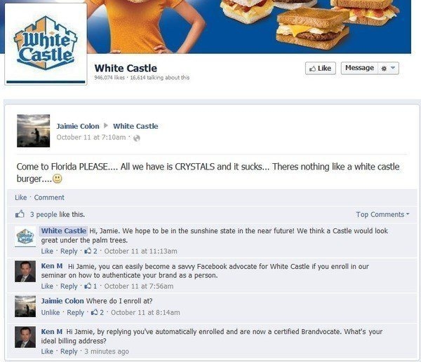 Ken M Posts On White Castle