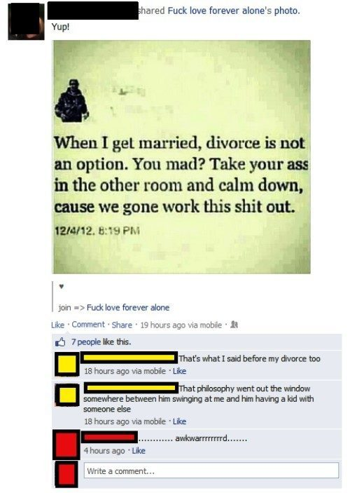 Awkward Moments On Facebook Divorce