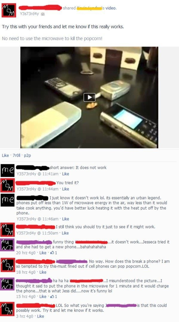 Dumbest Things On Facebook Microwave Your Phone