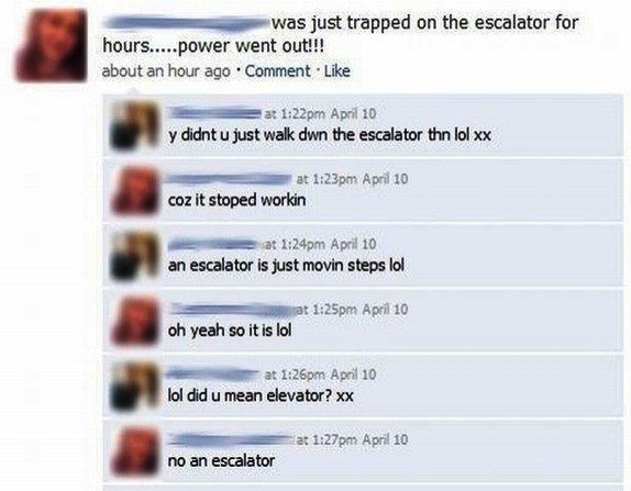 Dumbest Facebook Posts Escalator
