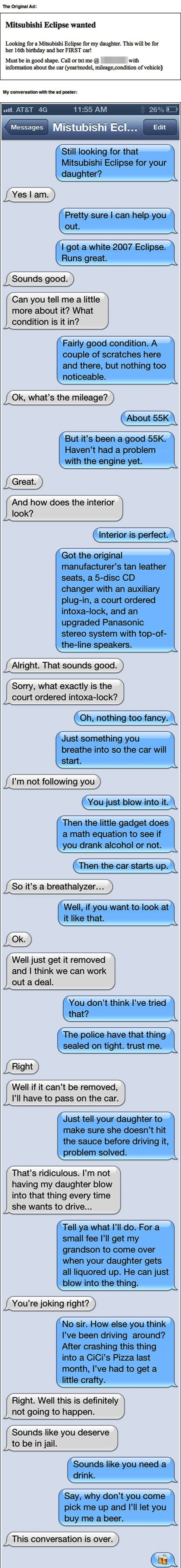Mitsubishi Eclipse Text Pranks