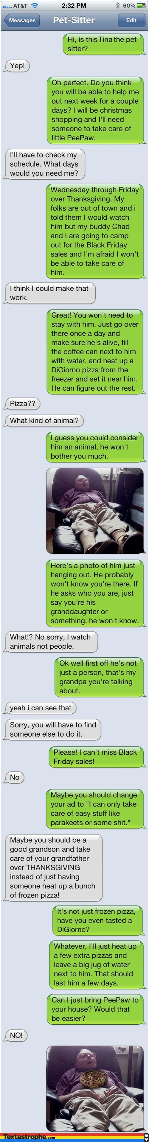 Pet Sitter Text Prank