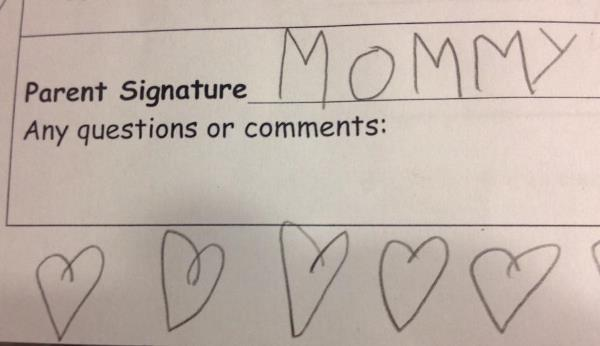 Kid Fakes Mom's Signature