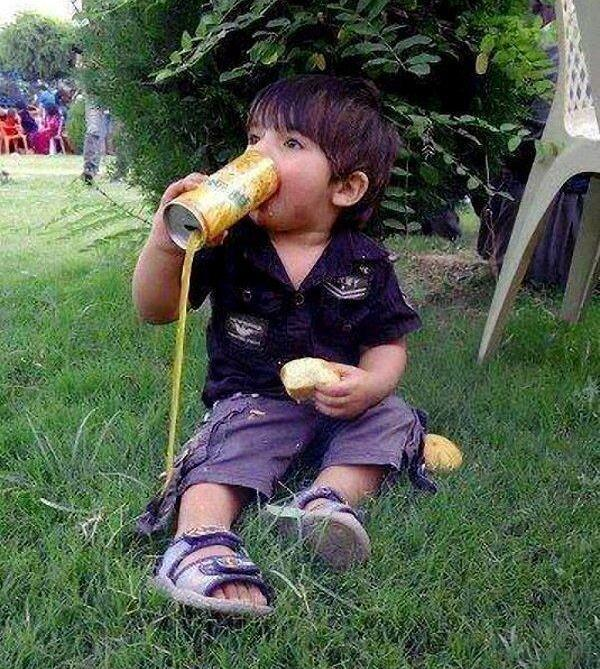 Kid Drinking From A Can Fail
