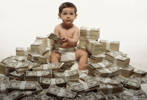 baby in money pile
