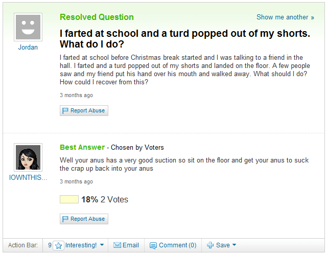 Worst Yahoo Answer Ever