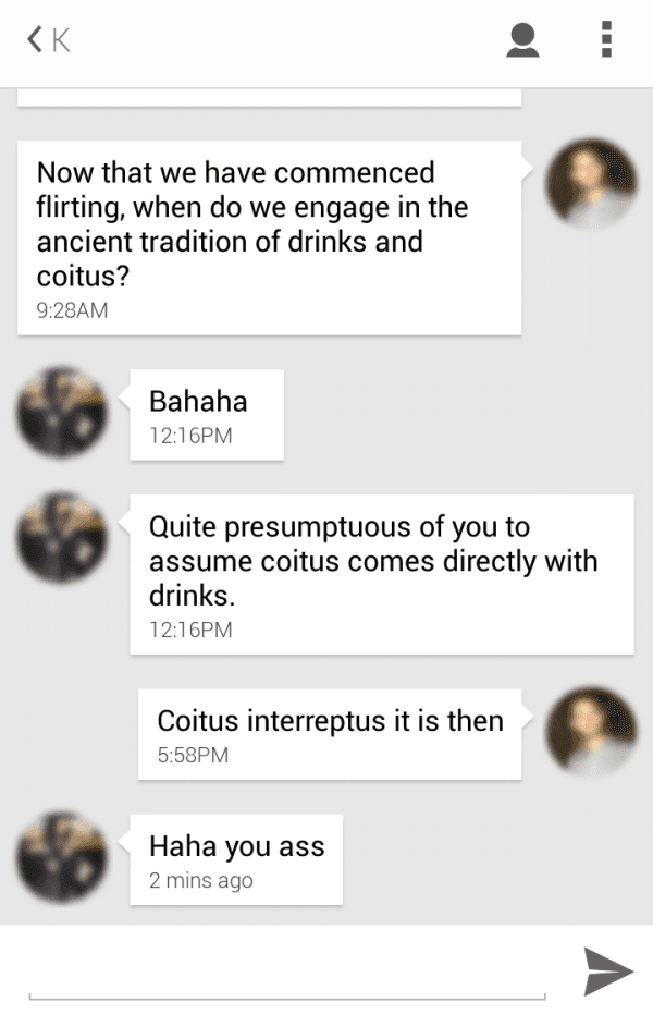 Looking for love an absurdist hits tinder for Coito interruptus