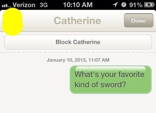 Tinder Lines What's Your Favorite Sword