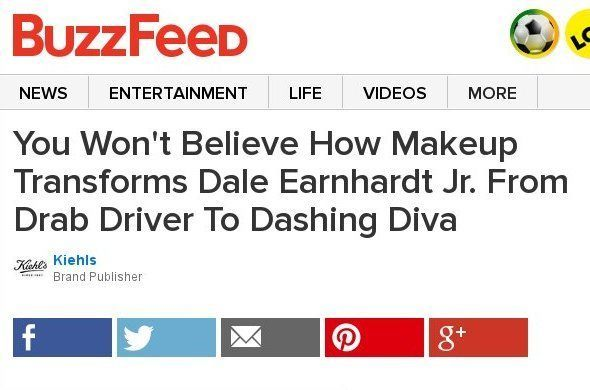 You Won't Believe How Makeup Transforms Dale Earnhardt Jr. From Drab Driver To Dashing Diva Sponsored by Kiehls