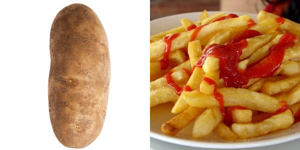 Potato Covered In Ketchup