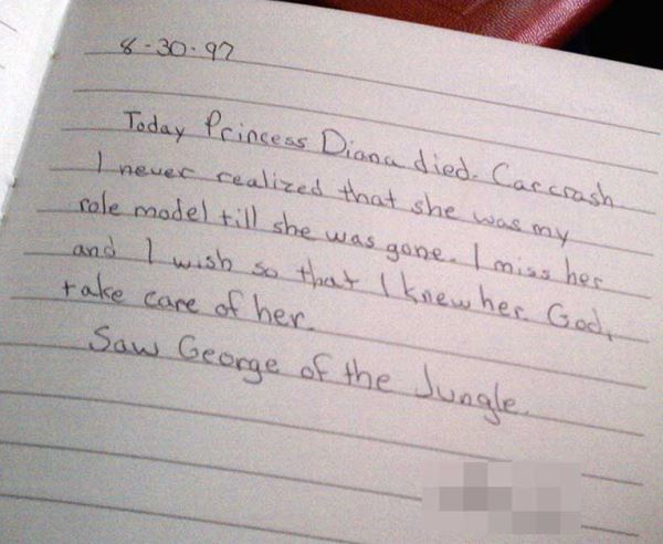 Princess Diana Diary Entry