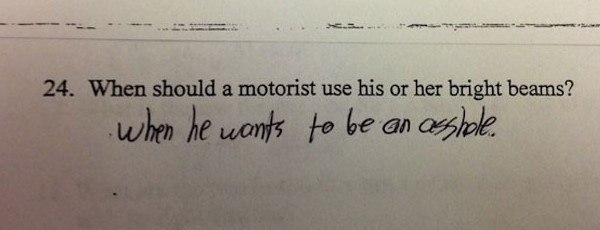 Genius Test Answers High Beams
