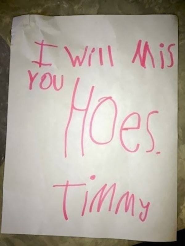 Tommy Will Miss Hoes