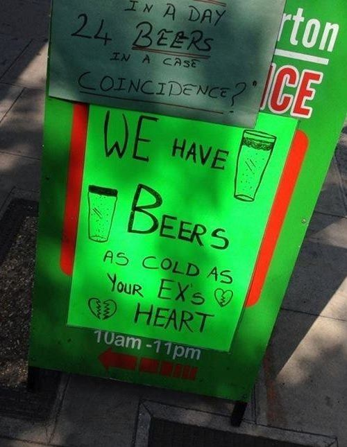 Cold Beers Funny Signs