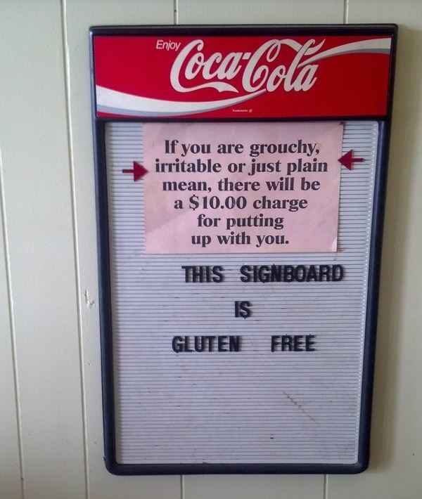 Funny Sign Gluten Free