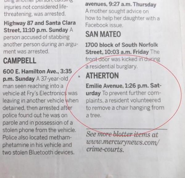 Atherton California Police Blotter