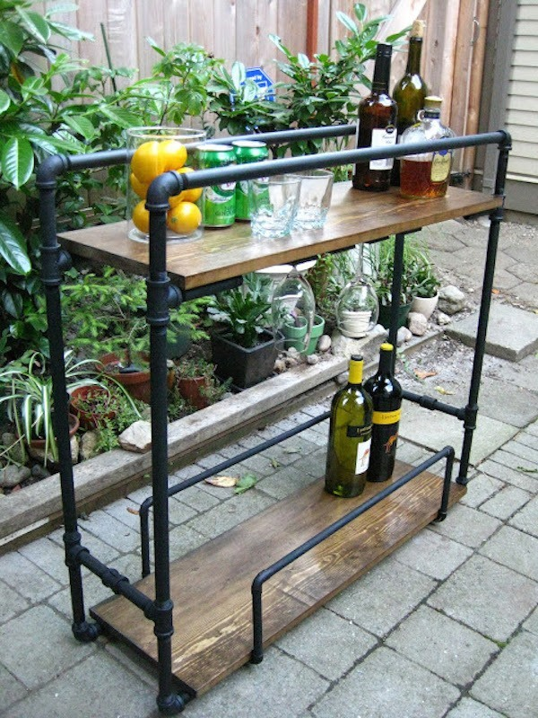 diy industrial bar cart