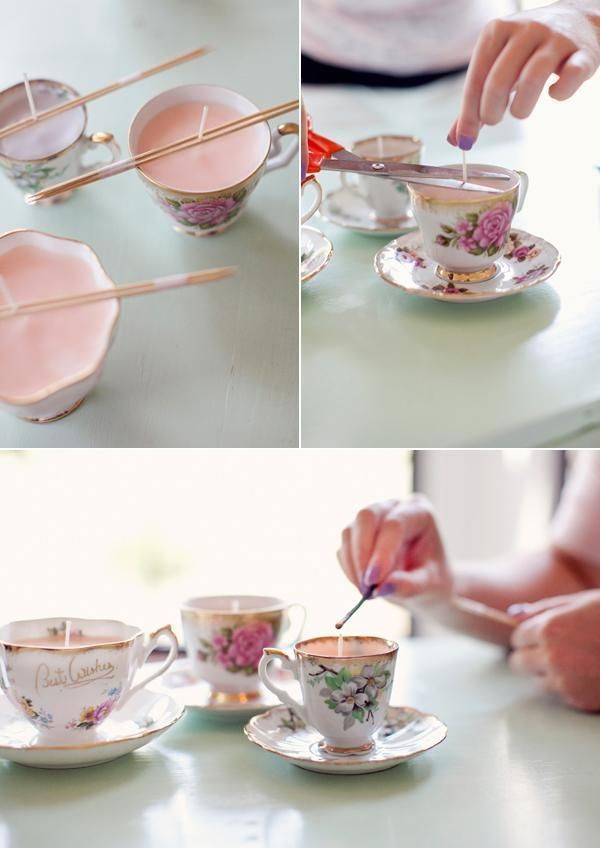 diy projects tea cup candles