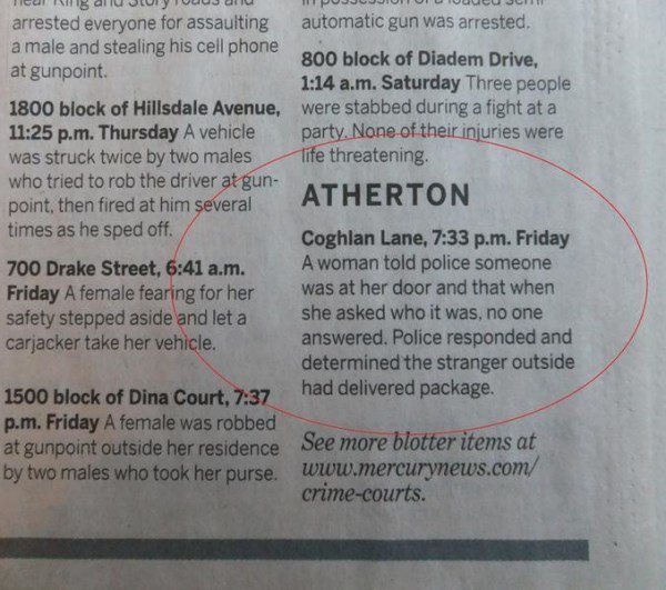 Funny Police Blotter