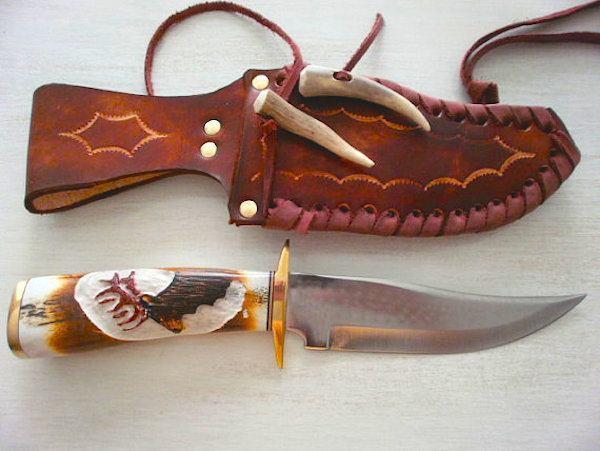 Hand-carved elk knife