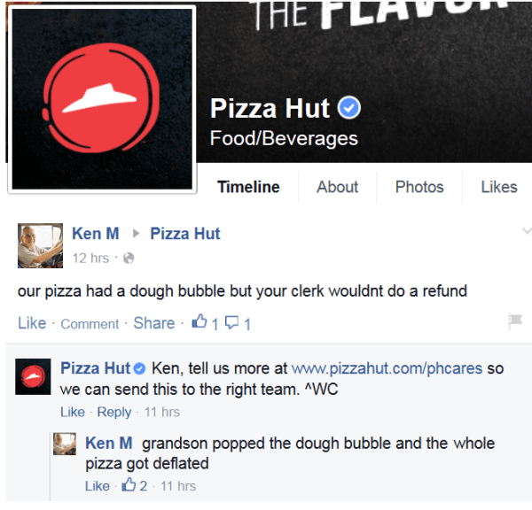 Pizza Hut Facebook Page