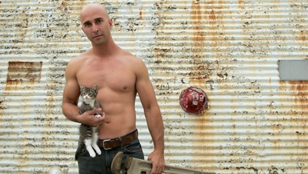 Hot Bald Guy With A Kitten