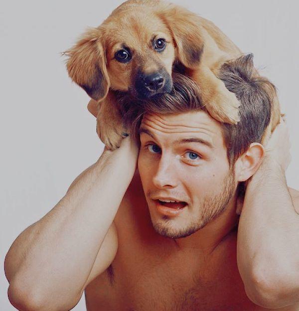 Shirtless Men With Baby Animals