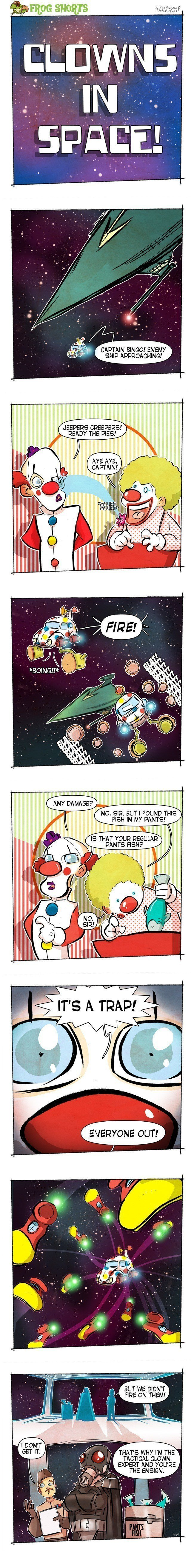 Frog Shorts Clowns In Space