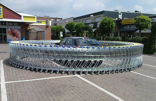 Shopping Carts Around Car