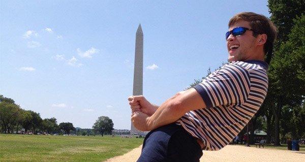 Guy Pretending The Washington Monument Is His Dick