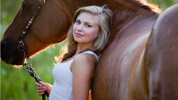 "Junior Jessica Fairbanks with her show horse, ""Daddy's Girl."""