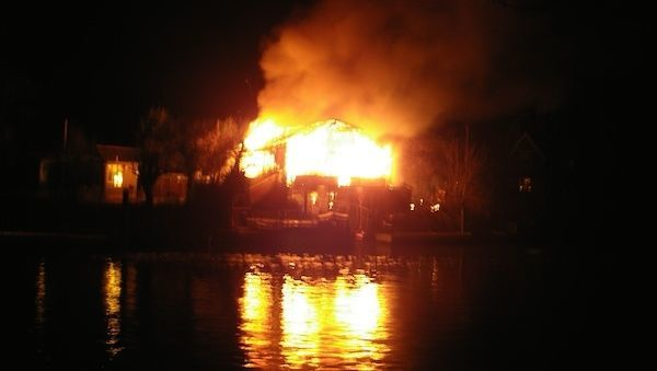 House Boat On Fire