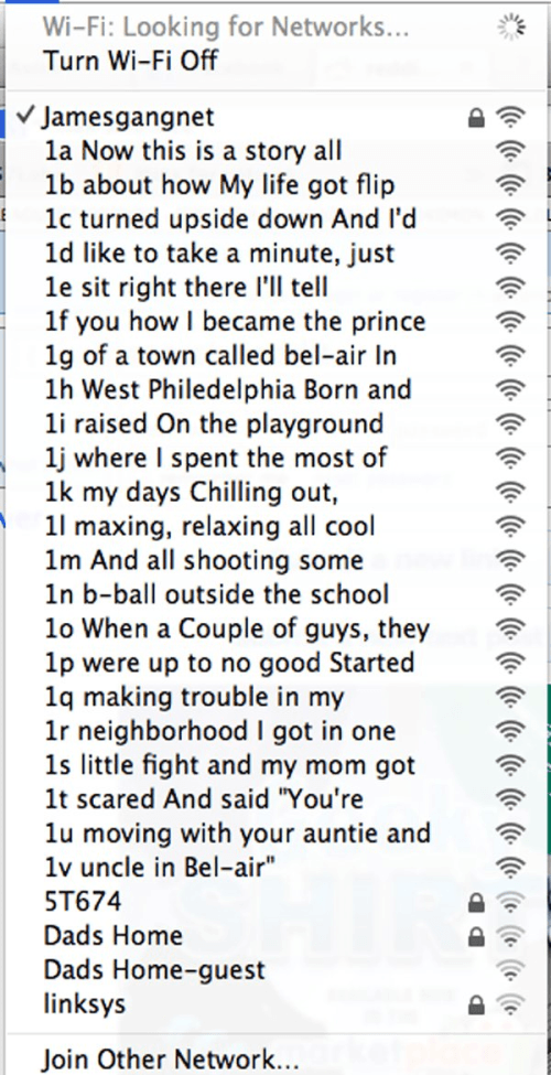 Fresh Prince Funny Wifi Names