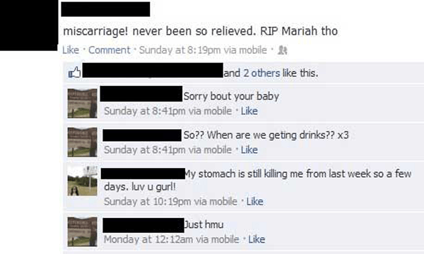 Miscarriage Facebook Tmi