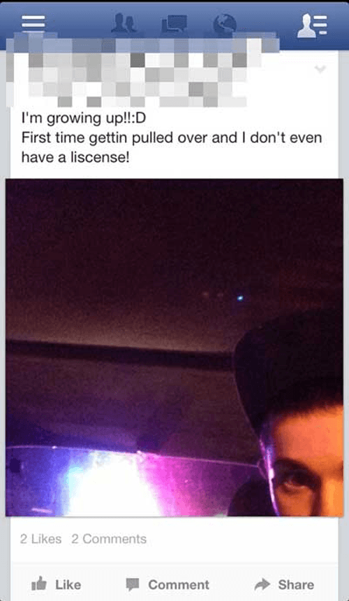 Pulled Over Facebook Tmi