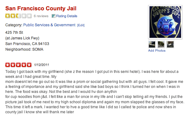 County Jail Yelp Reviews
