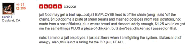 Jail Food Yelp Reviews