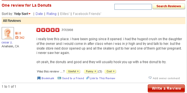 La Donuts Yelp Reviews