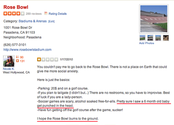 Rose Bowl Yelp Reviews