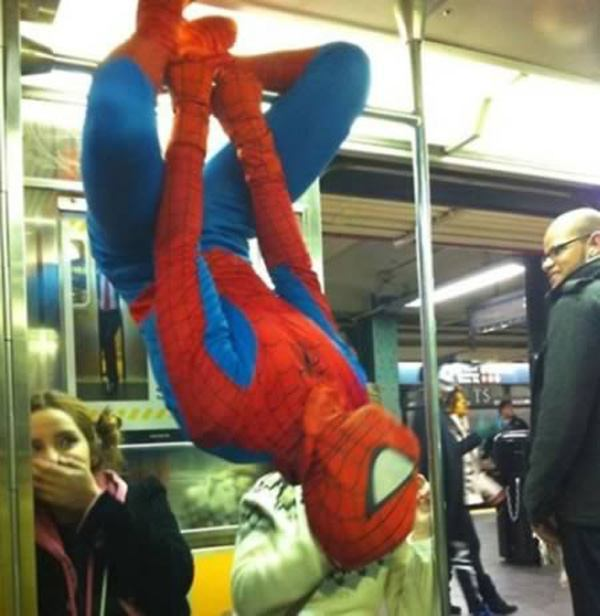 Spiderman On Subway