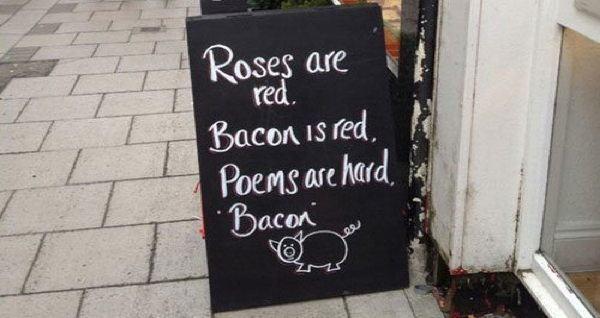 Bacon Poem Chalkboard Sign