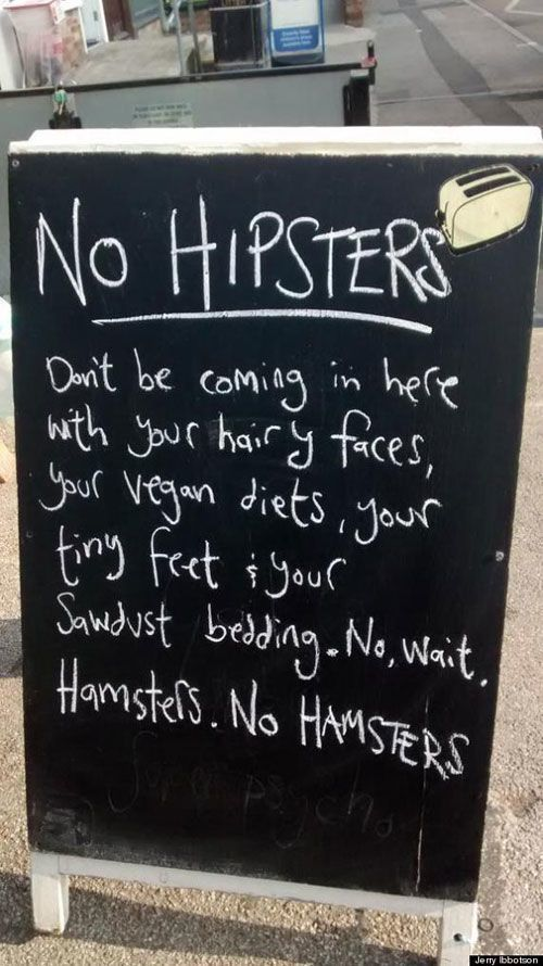 No Hamsters Chalkboard Sign