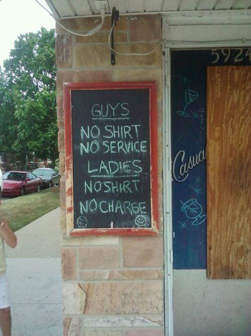 No Shirt No Charge
