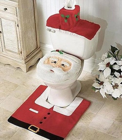 Santa Toilet Christmas Decorations