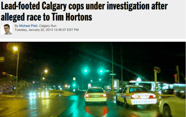 Cop Race To Tim Hortons