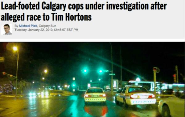 Cop Race To Tim Hortons