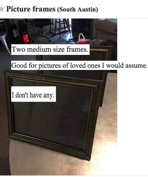 Sad Frames Craigslist Ads