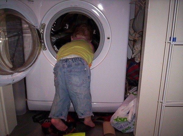Children In Danger Baby Washing Machine